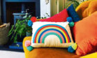 Embroidered rainbow cushion, £35, www.mylesfromhome.co.uk