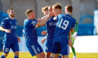 Peterhead's Hamish Ritchie celebrates after scoring the second.