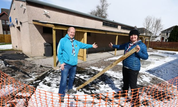 Pictured are Andy Till, the Beaver group leader, and Laura McGill, Kintore Scout Group leader.