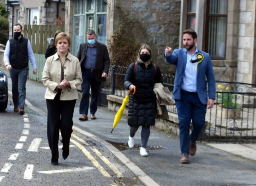 SNP leader Nicola Sturgeon and Aberdeenshire West candidate, Fergus Mutch, campaigning in Insch