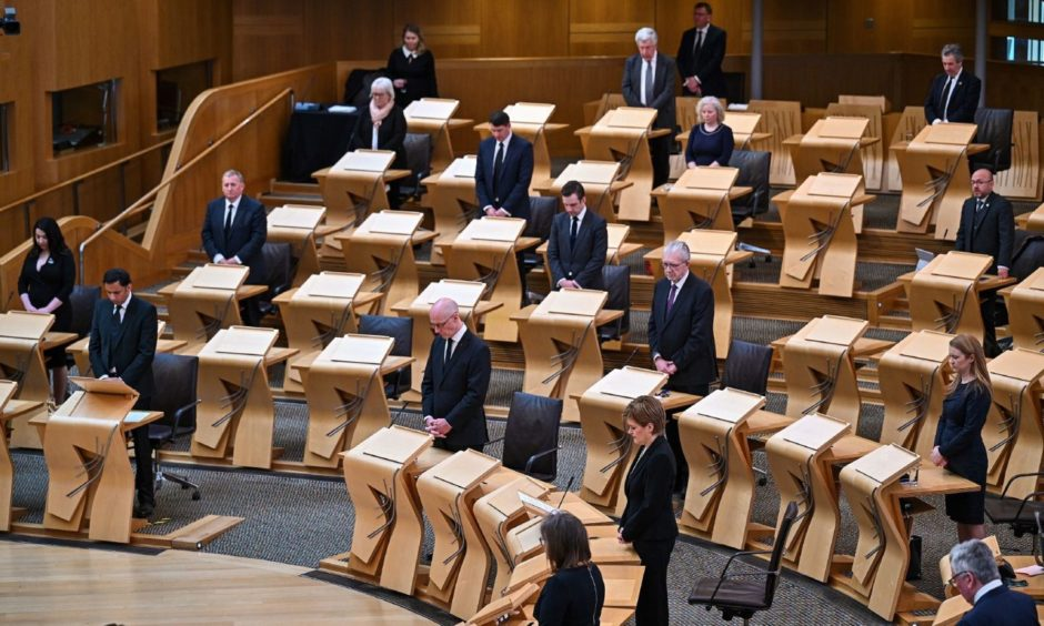 First Minister Nicola Sturgeon joins Scottish political party leaders as they take part in a motion of condolence for The Duke of Edinburgh at Scottish Parliament.