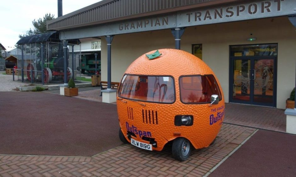 The 'Outspan Orange' vehicle, pictured outside the Grampian Transport Museum, will be outside Costco at Westhill this weekend.