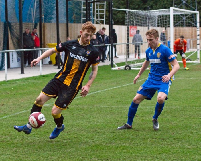 Caley Thistle midfielder David Carson in action for Morpeth.
