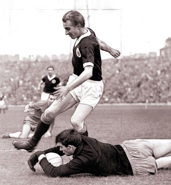Denis Law playing for Scotland, 1965