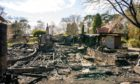 Only charred remains are left of the community centre at the Findhorn Foundation.