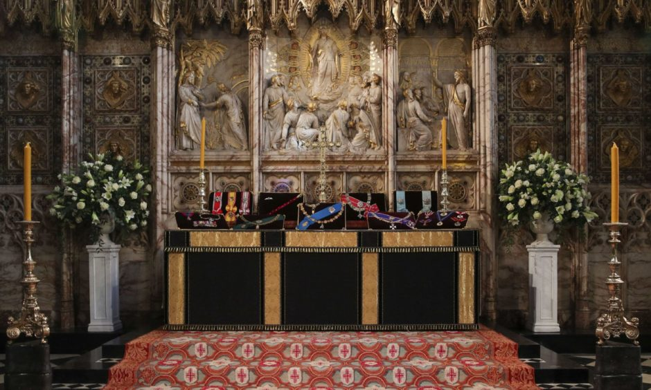 The Duke of Edinburgh's Insignias placed on the altar in St George's Chapel.