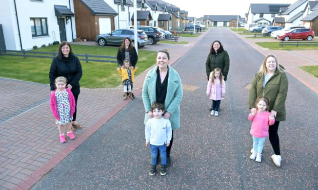 The Findhorn Five (L-R): Lacey MacDonald with Leah, Carol-Ann MacKillop with Martha, Jacqueline Robinson with Louis, Danielle McLeod with Mina and Jan Rogan with Freya.