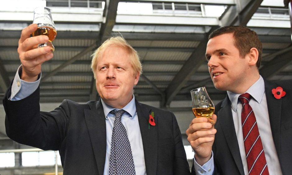 Boris Johnson and Douglas Ross ahead of the 2019 election.