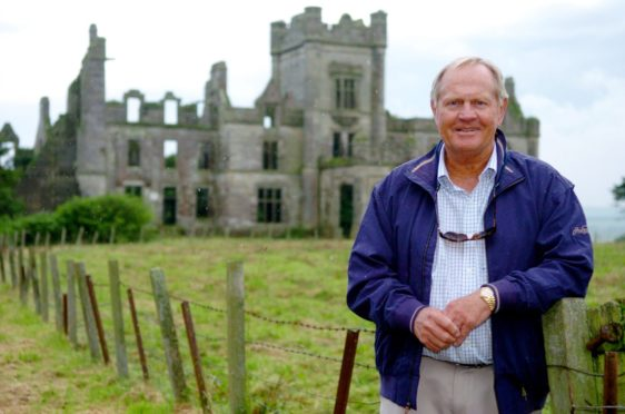 Jack Nicklaus in front of Ury House on Ury Estate, Stonehaven.
