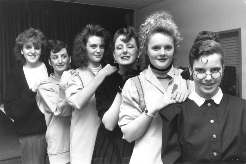 Award-winning hairdressing students at Aberdeen Technical College show off their skills in 1988.