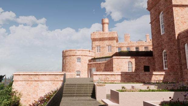 An illustration by LDN Architects of the Inverness Castle transformation