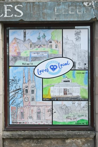 Drawings of local landmarks by children have also been used to brighten Mid Street in Keith.