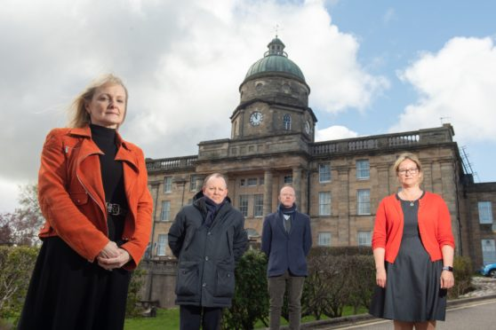 """Grampian's Director of Public Health Susan Webb,  Moray Council Chief Executive Roddy Burns, Visit Moray Speyside CEO Laurie Piper and Chief Nurse for Moray Sam Thomas issue a warning to residents in Moray not to let the region """"get left behind"""" as the country unlocks, amid surging Covid-19 cases in the region."""