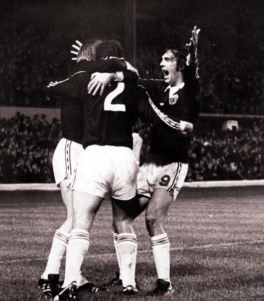 Joe Jordan (left), Scotland v Wales, 1976