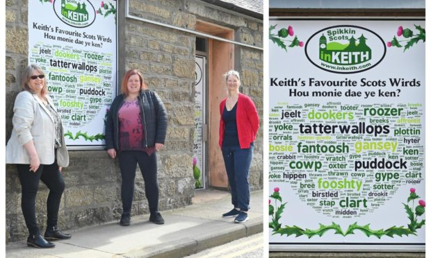 The displays have been used to brighten Mid Street in Keith. Pictured: Strathisla Regeneration Project chairwoman Rhona Patterson and directors Adele Williams and Linda Riggall.. Keith. Supplied by Jason Hedges/DCT Media Date; 19/04/2021