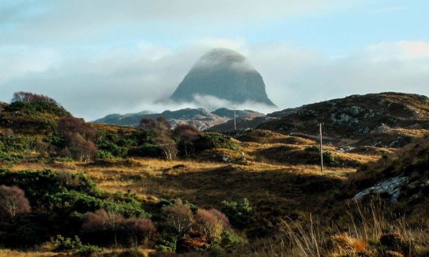 View of Suilven from site of land buy out in Lochinver