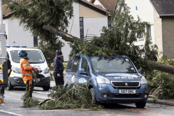 The incident on Westburn Road. Picture by Derek Ironside/Newsline Media