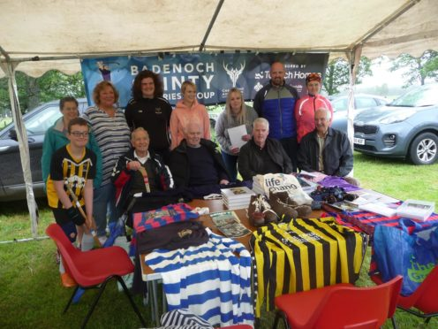Badenoch Shinty Memories group at an event before the pandemic