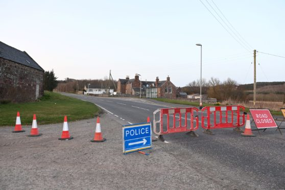 A947 was closed between Fyvie and Turriff near Birkenhills.