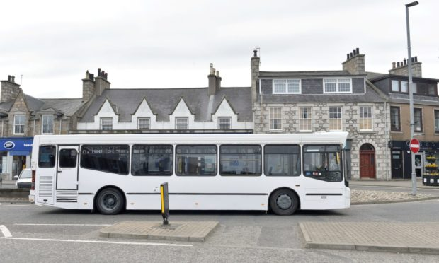 A bus in Inverurie. Aberdeenshire Council has announced it will be reducing or withdrawing a number of supported bus services.