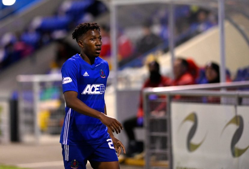 Kieran Ngwenya during a game between Cove and Airdrieonians.