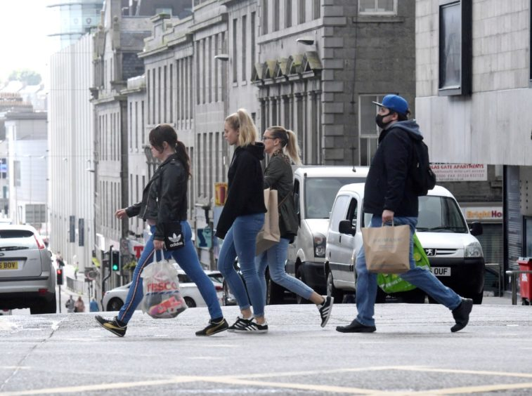 Shoppers on Union Street when restrictions last eased in June 2020. Picture by Kath Flannery