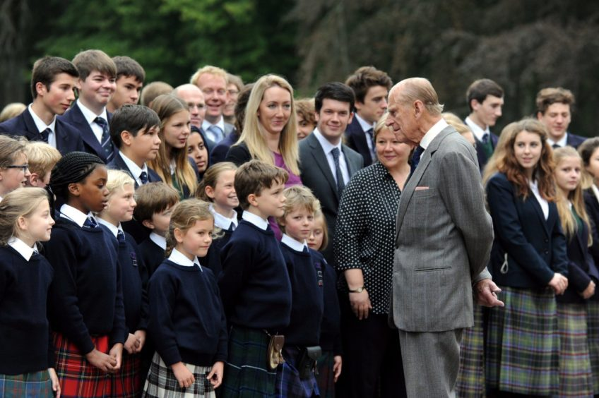 Prince Philip during a private visit to Gordonstoun, where he was a pupil, on the occasion of their 80th anniversary. Picture by Gordon Lennox 2014