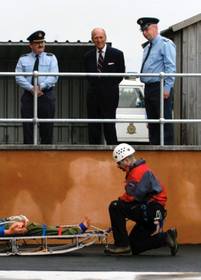 Prince Philip visits the RAF Kinloss mountain rescue team in 2006.