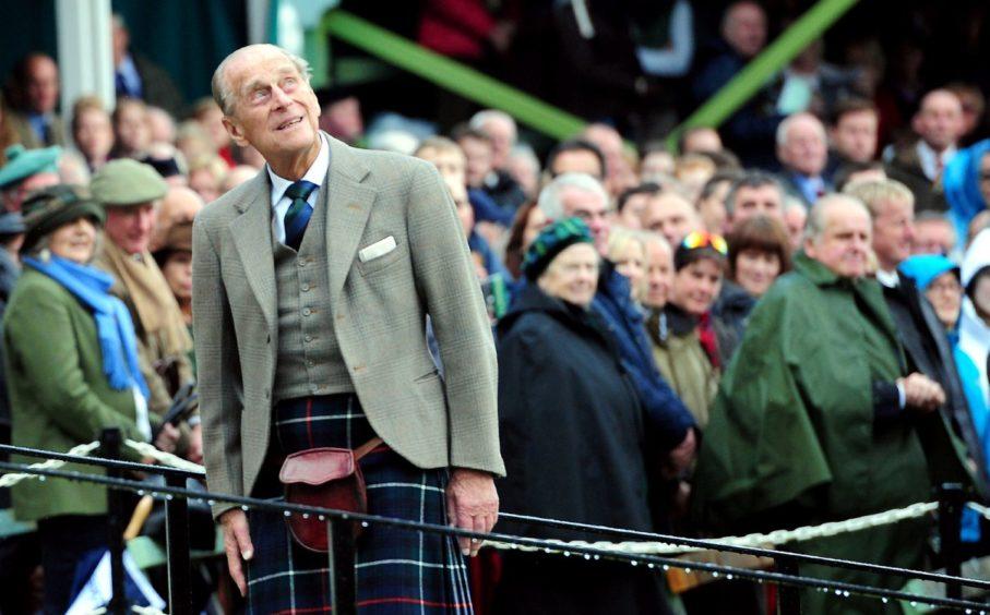 The Duke of Edinburgh at the  Braemar Highland Games in 2014.