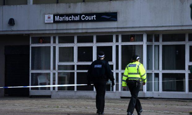Police at Marischal Court, Aberdeen.  Picture by Scott Baxter    02/04/2021