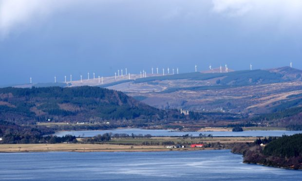 Windfarms above Rosehall dominate the Kyle of Sutherland