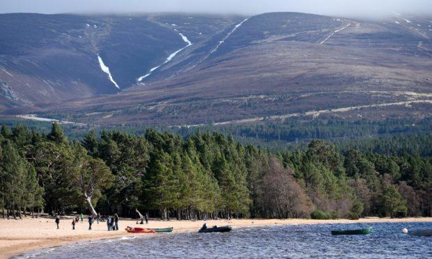 Bright sunny day at Loch Morlich.