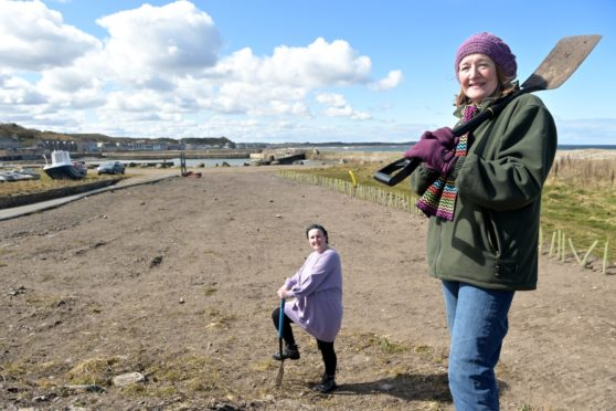 Members of the Portgordon Garden Group's Johanna Summers and Lindsay Mayo at the site where proposed community garden will be.