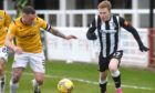 Elgin City's Conor O'Keefe (right) on the attack against Edinburgh City. Picture by Sandy McCook