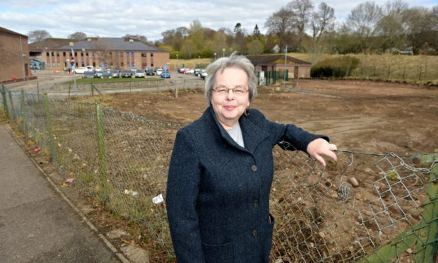 Inverness councillor, Trish Robertson at the site of the new demolished janitors houses at Culloden Academy