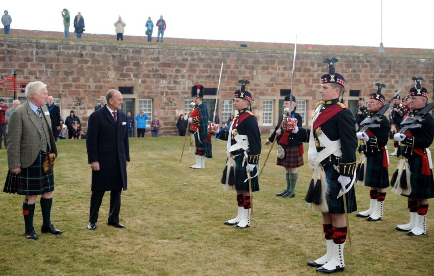 Prince Philip yesterday opened the newly refurbished Highlanders Museum at Fort George following a major refurbishment in March 2013. Picture by Sandy McCook