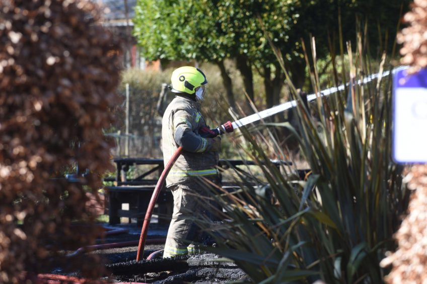 Fire crews respond to the Findhorn Foundation fire.