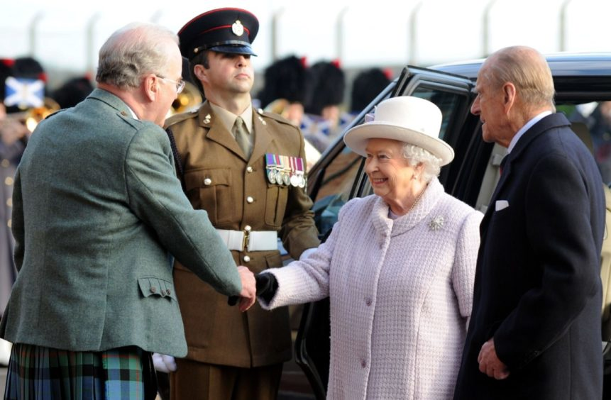 Prince Philip returned to the former RAF Kinloss base after it was transferred to the Army in 2014 with the Queen.