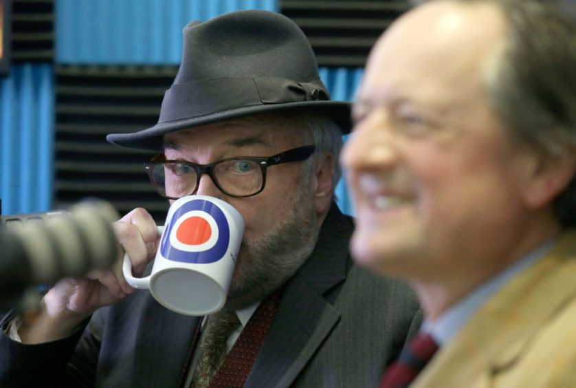 George Galloway and Jamie Blackett during the launch of the Alliance 4 Unity party's manifesto for the Scottish Parliamentary election in Glasgow.