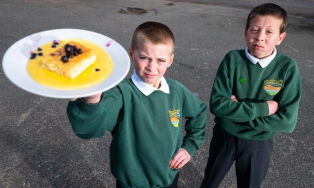 Rhynie School pupils are campaigning against the scrapping of custard and ice cream at lunch