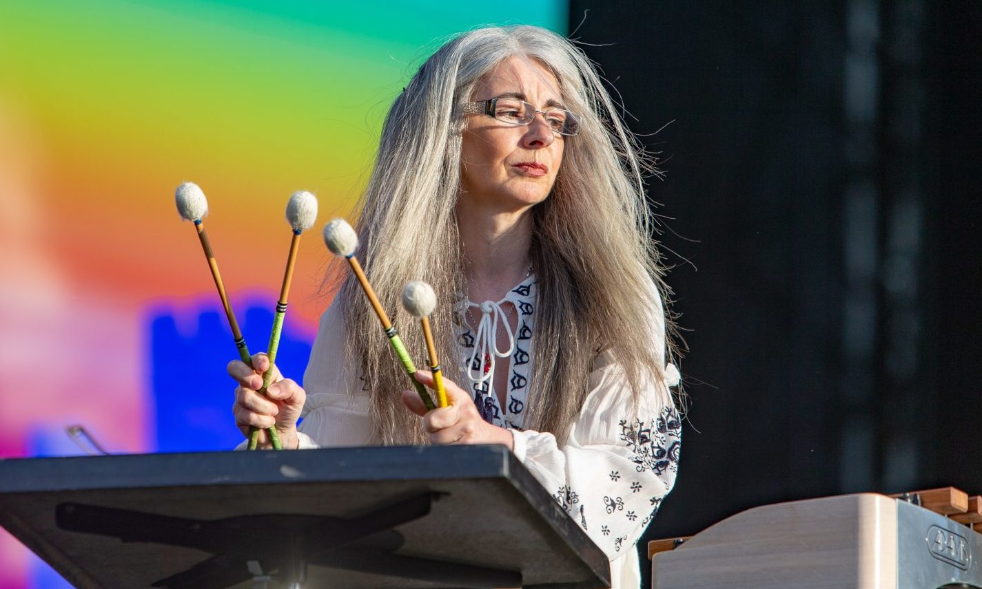 Percussionist Evelyn Glennie plays the BBC Biggest Weekend in Perth, 2018.
