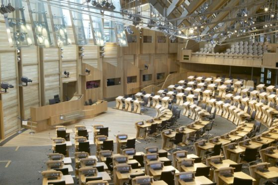 The Scottish Parliament debating chamber in Holyrood