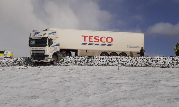 A Tesco lorry left the A9 near Latheron this morning