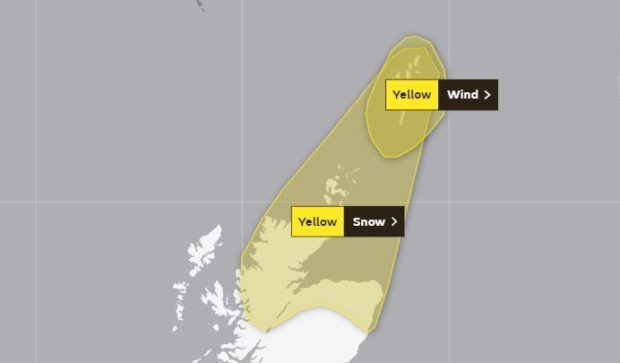 The yellow weather warning for northern Scotland which will come into effect at 7pm, and the current yellow warning for Shetland which is set to expire at 5pm.