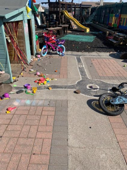 Toys and games were left strewn outside the outdoor areas at Jack and Jill Nursery.