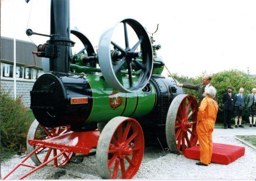 The Duke of Edinburgh inaugurating a steam engine at the Grampian Transport Museum in 1992