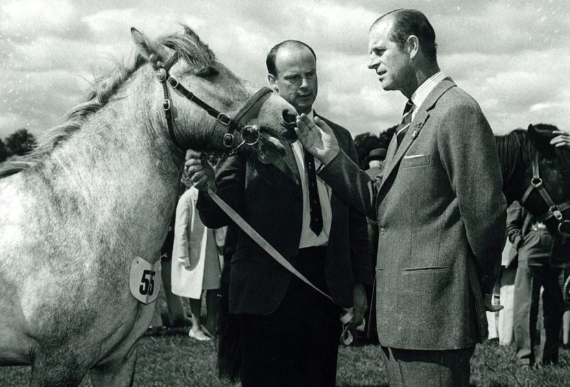 George McCallum, of Dingwall with the pony and HRH Prince Philip in approximately 1975 at the Royal Highland Show