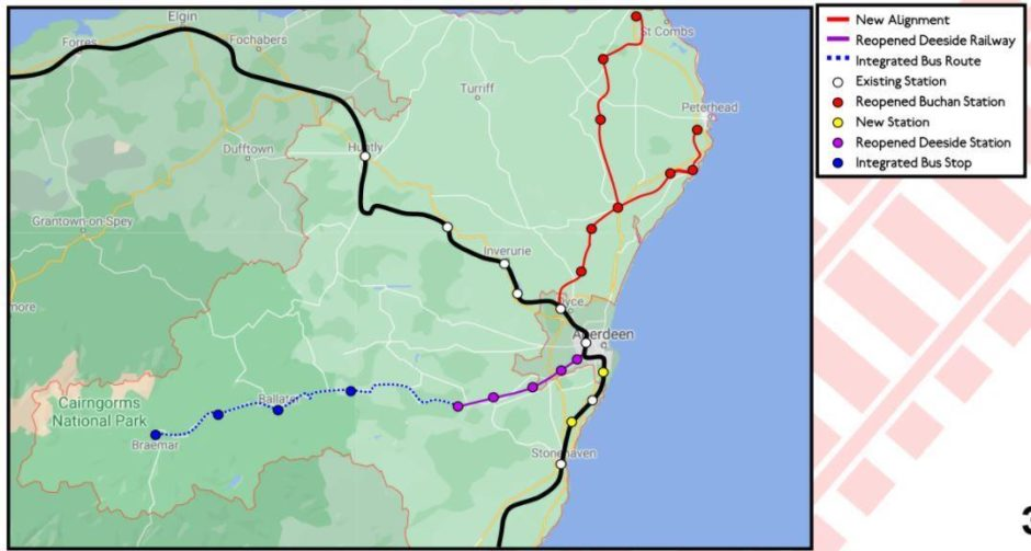 The Campaign for North-East Rail has unveiled its plans for new rail links in Aberdeenshire