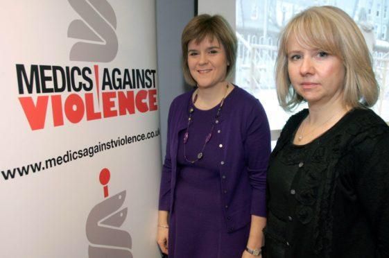 Medics Against Violence director Christine Goodall with Nicola Sturgeon at a past event in Kilmarnock. www.universalnewsandsport.com.