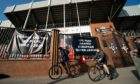 Banners outside Liverpool's Anfield Stadium protesting the formation of the European Super League.